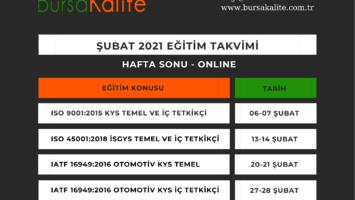 ŞUBAT 2021 HAFTA SONLARINA PLANLANAN ONLINE EĞİTİM TAKVİMİMİZ