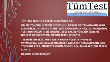 TÜMTEST A.Ş. HİZMET KALİTESİNİ TSE İLE TESCİLLEDİ